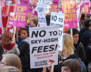 NUS student and UCU demonstration against cuts and tuition fees (Photo: Sarah Wrack)
