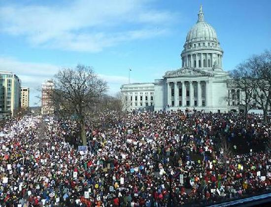 Mass protests (from top to bottom): Portugal 09/12, Egypt 07/13, Greece 05/11, Wisconsin 02/11.