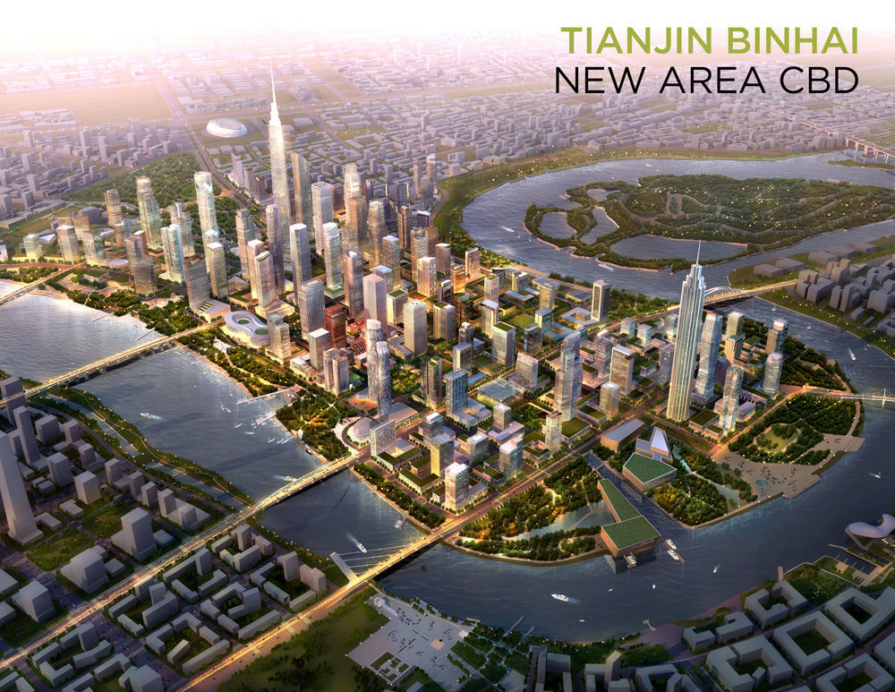 The city of Tianjin's 'Manhattan project' – a replica of New York's original. (Graphic: SOM)