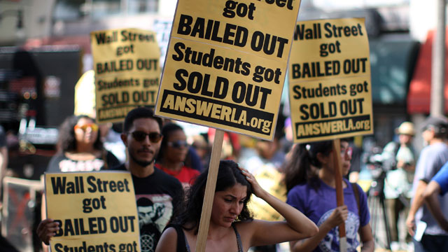 Student protesters call for debt cancellations in Los Angeles (Photo by David McNew/Getty Images)