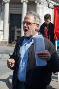 Hawkins speaks at 15 Now demonstration in Brooklyn.