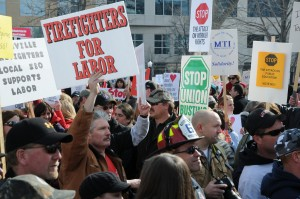 Workers fighting for workers rights in the 2011 Wisconsin uprising. Source: Marc Tasman