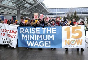 Airport workers protest wages at Minneapolis-St. Paul International Airport on Friday, Dec. 5, 2014.  (Photo: Pioneer Press / Jean Pieri)