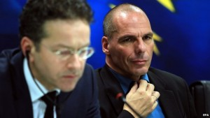 "Yanis Varoufakis, Greece's finance minister, says his government will not negotiate over the Greek bailout conditions with the ""troika"" team from the EU and IMF. (Photo: EPA)"