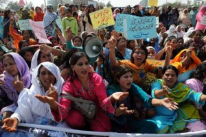 Pakistani women chant slogans at a rally in Islamabad during International Women's Day (Photo: Asif Hassan / AFP)