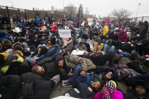 "Black Lives Minneapolis held an MLK march from Snelling and University in St. Paul to the Capitol . They ""died in"" on an I94 overpass along the way. Photo: Richard Tsong-Taatarii"