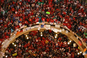 Wisconsin workers occupy the State Capitol in 2011. Photo: Andy Manis/AP