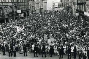 Anti-Thatcher rally in Liverpool in the 1980s