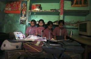 School girls in Bhangel village in the northern Indian state of Uttar Pradesh. Experts say many girls do not complete their primary education and are taken out of school by their parents due to poverty, or to help at home or be married off. (Photo: REUTERS/Parivartan Sharma)