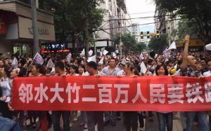 Protesters on the streets of Linshui (Photo: telegraph.co.uk)