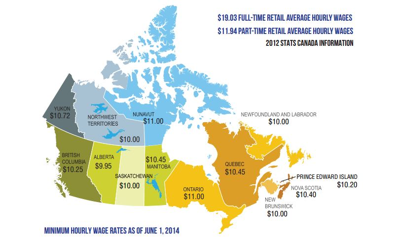 Map of Minimum wage in Canada