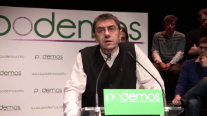 Juan Carlos Monedero speaks at a Podemos presentation in Madrid on January 16, 2014. (Photo by Podemos)