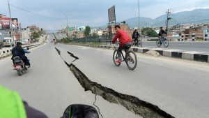 Damaged roads on the outskirts of Kathmandu (Photo: Prakash Singh / AFP / Getty Images)