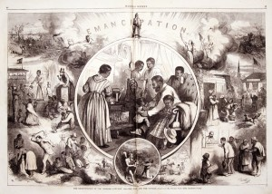 A celebration of the Emancipation Proclamation. Drawing by Thomas Nast, Harper's Weekly, January 23, 1863.