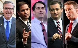 Five of the Republicans set to challenge for the US presidency in 2016: (L-R) Jeb Bush, Marco Rubio, Scott Walker, Ted Cruz, Rand Paul (Photo: Rex Features / Reuters / Getty Images)