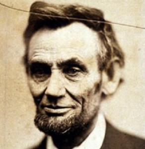 Detail from a photograph of Abraham Lincoln, taken a month before his second inauguration, by Alexander Gardner, 1865, courtesy of The National Portrait Gallery, Smithsonian Institution