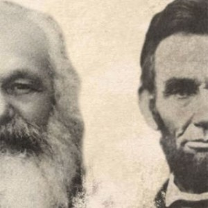 Detail from cover of An Unfinished Revolution: Karl Marx and Abraham Lincoln, by Robin Blackburn, © Verso Books