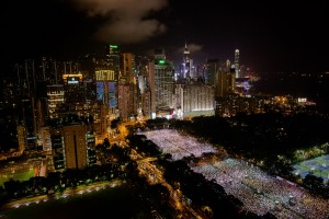 Victoria Park during a candlelight vigil held to mark the 24th anniversary of the 1989 crackdown at Tiananmen Square, in Hong Kong on June 4, 2013. More than 100,000 people were expected to attend.  (Photo: Philippe Lopez / AFP - Getty Images)