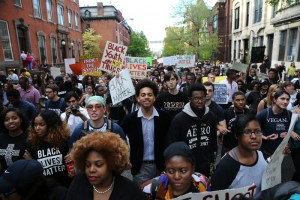 "Students from Baltimore colleges and high schools march in protest chanting ""Justice for Freddie Gray"" on their way to City Hall April 29, 2015 in Baltimore, Maryland.  (Photo: Win McNamee/Getty Images)"