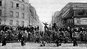 Workers at a barricade in the Paris Commune, 1871