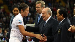 "Sports Illustrated: ""U.S. women's national team star forward Abby Wambach has encountered her fair share of sexism from FIFA and president Sepp Blatter."" (Photo: Alex Livesey / FIFA / Getty Images)"