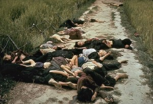 Photo taken by United States Army photographer Ronald L. Haeberle on March 16, 1968 in the aftermath of the My Lai massacre showing mostly women and children dead on a road (Public domain)