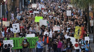 "Demonstrators in the ""March for Black Lives"" march through the streets after passing the Emanuel African Methodist Episcopal Church in Charleston (Photo: Reuters / Brian Snyder)"