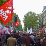 New Anti-capitalist Party (NPA) during a demonstration against pension reform in October 2010, in Paris
