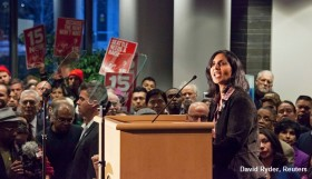 KSHAMA SAWANT ADDRESSES THE CROWD AFTER BEING SWORN IN AS A SEATTLE CITY COUNCIL MEMBER IN SEATTLE