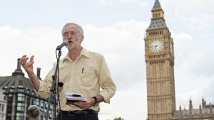 Labour MP Jeremy Corbyn addresses those at the No Glory in War rally in Parliament Square, London, on 4 August 2014 to commemorate the millions killed in the first world war. (Photo: Lee Thomas / Zuma Press / Corbis)