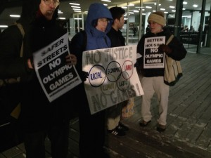 Protesters rallied against the Boston Olympic bid outside the Institute of Contemporary Art on the night of December 8th while a debate took place inside (Photo: Eric Wilbur)