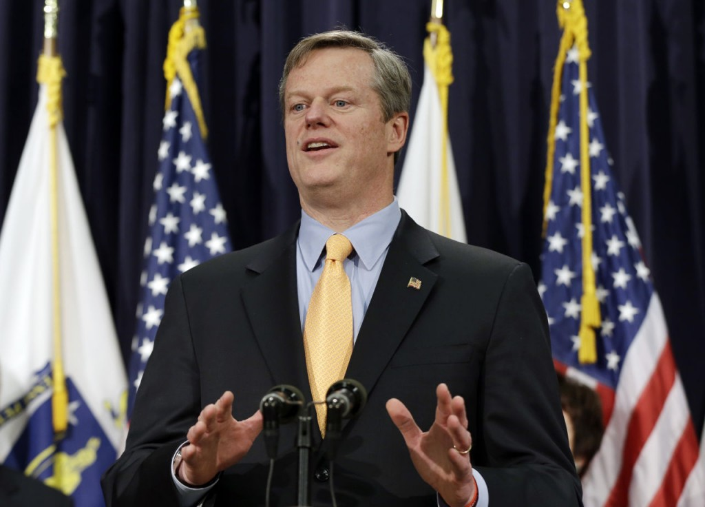 "Gov. Charlie Baker speaks to reporters at a news conference at the Statehouse in Boston, Friday, Feb. 20, 2015 after naming a seven-member panel of experts in transportation, economic development and municipal planning to come up with a fix for the troubled MBTA. Baker said the panel will perform an ""in-depth diagnostic review of the transit system's core functions."" The T has been reporting some progress in restoring services crippled by a brutal stretch of winter weather. (AP Photo/Elise Amendola)"