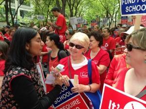 Kshama talks to teachers during their 1-day walkout.