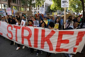 Occupy activists call for a general strike on May 1st, 2012 (Photo: AP / Ben Margot)