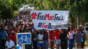#FeesMustFall protestors tie austerity to other capitalist anti-worker initiatives like outsourcing.