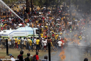 Heavy police repression of student protests. Photo: Siphiwe Sibeka/Reuters