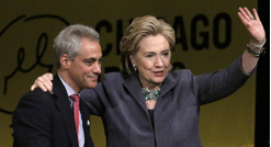 Rahm Emanuel (left) with Hillary Clinton (right)