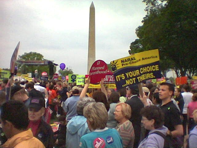 Abortion-rights activists before the Washington Monument in Washington, D.C., at the March for Women's Lives in 2004. Photo Credit:Wikipedia