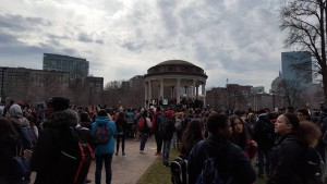 Boston high schoolers and middle schoolers walking out against cuts in education, self organized by a group of teenage students. Photo Credit: Andy Moxley