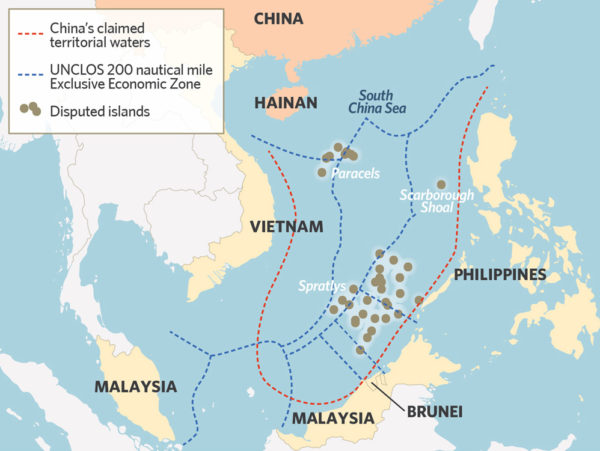 China's nine-dash line claims more than 80% of the South China Sea.