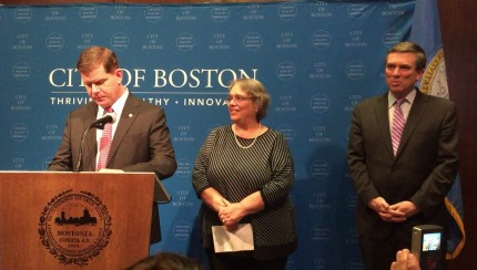 Boston Mayor Marty Walsh speaks at a press conference.