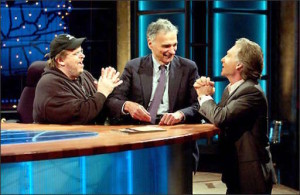 Bill Maher and Michael Moore beg Ralph Nader not to run in 2004