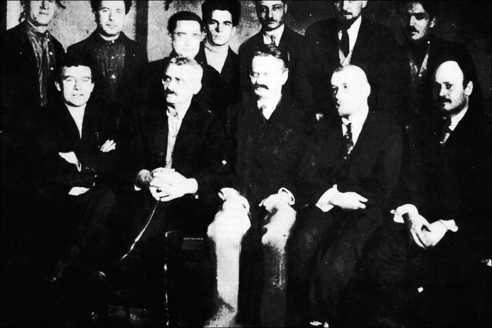 Some leading Left Oppositionists at a meeting in Moscow, 1927 - Trotsky seated centre