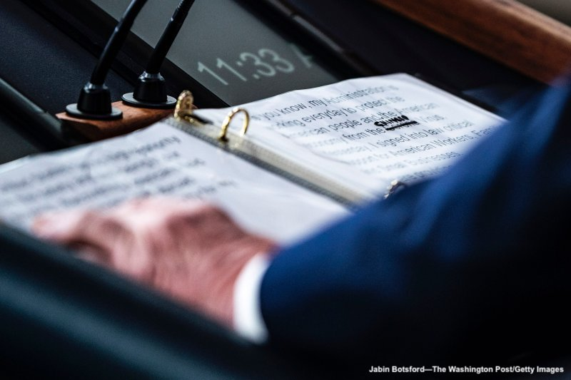 WASHINGTON, DC - MARCH 19 : A close up of President Donald J. Trump's notes shows where Corona was crossed out